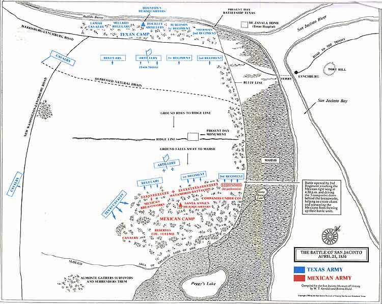 Battlefield Map Of San Jacinto Texas April 21 1836