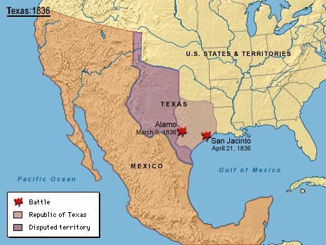 Map Of U S Mexico Amp Texas In 1836